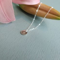 Silver Tiny Disc Initial Necklace
