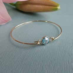 gold light blue crystal bangle