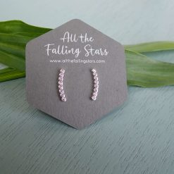Sterling silver crystal bar earrings