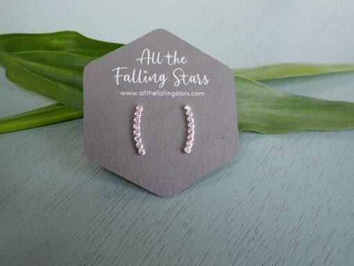 Sterling silver crystal bar earrings