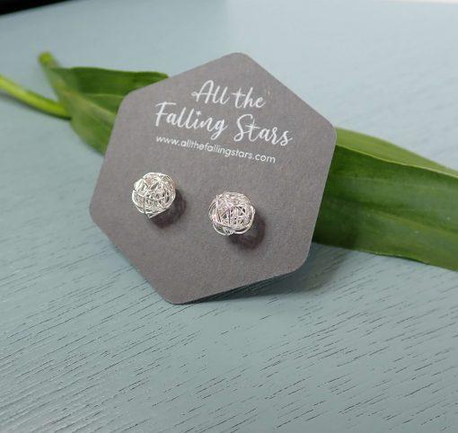 Sterling silver wire ball earrings