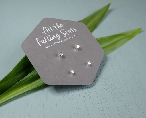 Sterling silver tiny cubes earring set