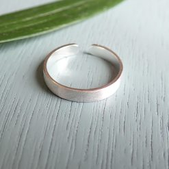 Sterling silver plain brushed ring