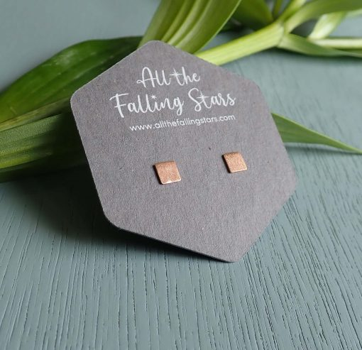 Rose gold vermeil brushed square earrings