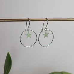 Silver hammered star earrings