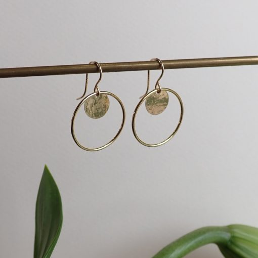 Gold disc circle earrings