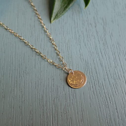 14k gold filled layered disc necklace