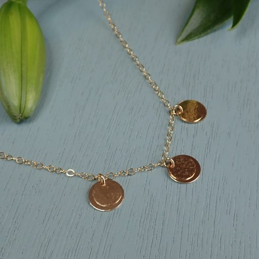 Gold three layered gold disc necklace