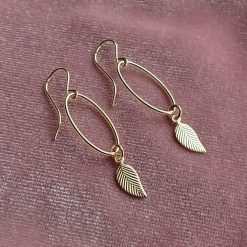 14k gold filled leaf earrings