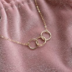 14k gold filled triple interlocking circles necklace