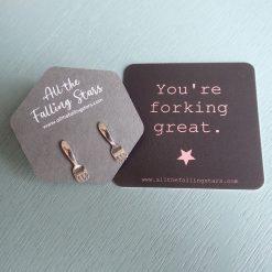 Sterling silver miniature fork earrings