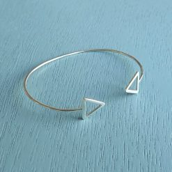 sterling silver geometric triangle bangle