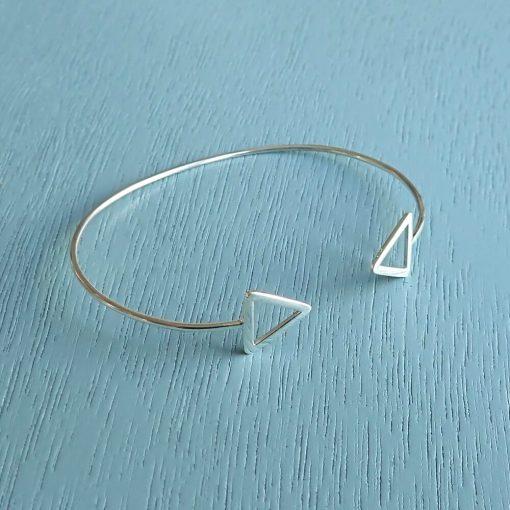 sterling silver geometric triangle bangle