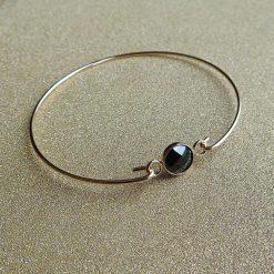 14k Gold & Black Crystal Bangle