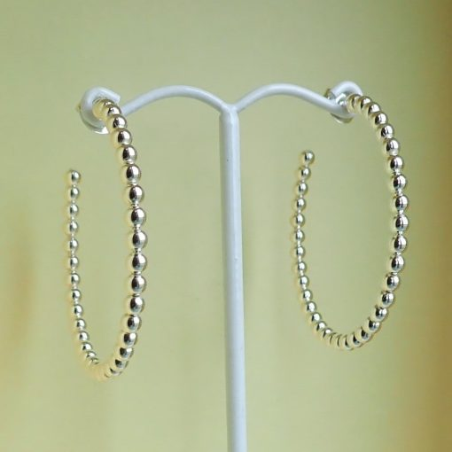 Sterling silver ball beaded hoop earrings