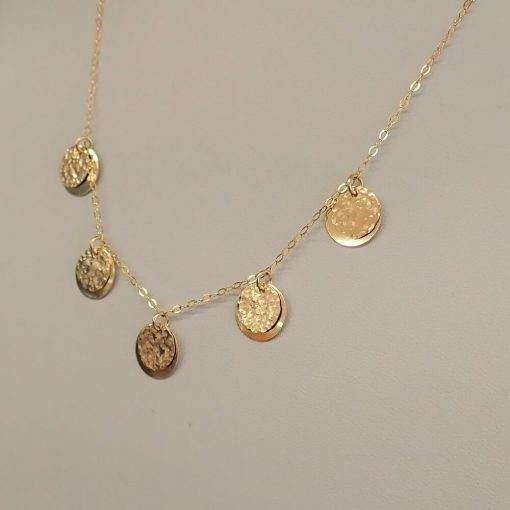 Gold Filled FIve Layered disc necklace