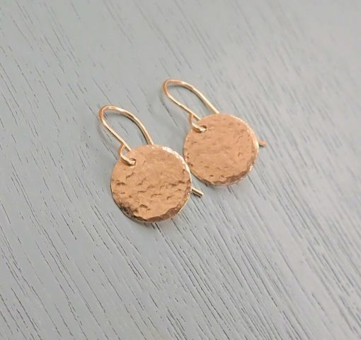 14k Gold Filled Disc Earrings Hammered
