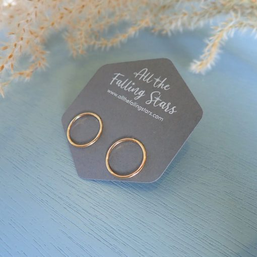 gold filled circle stud earrings
